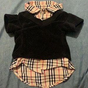 """Burberry"" Style Dog's Shirt & Vest"